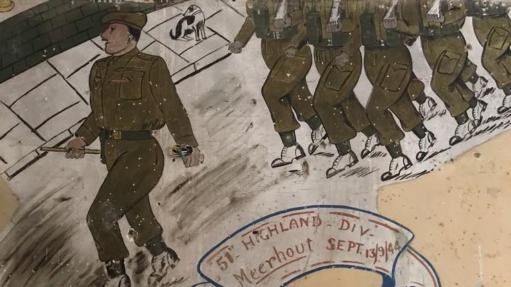Żołnierskie graffiti odkryte w belgijskim mieście, które wyzwalała brygada generała Maczka