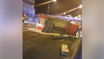 Wypadek wozu strażackiego w Słupsku. Trzy osoby ranne