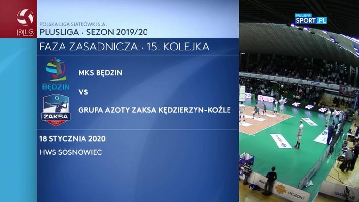 MKS Będzin – Grupa Azoty ZAKSA Kędzierzyn-Koźle 3:1. Skrót walki