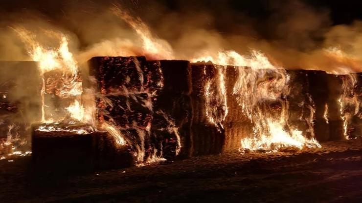 Pożar słomianych bali niedaleko autostrady