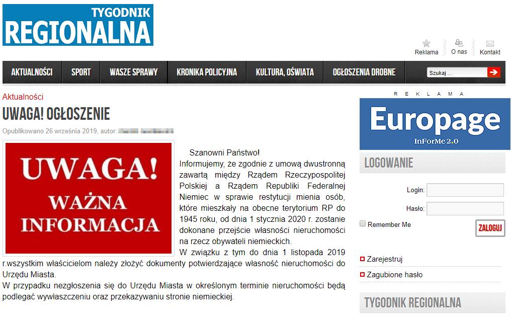 """Fałszywy komunikat na stronie """"Tygodnika Regionalna"""""""