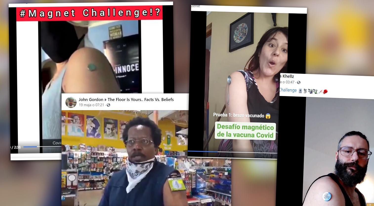 W ramach akcji #magnetchallenge internauci pokazują, jakoby miejsce po szczepieniu trzymało magnes