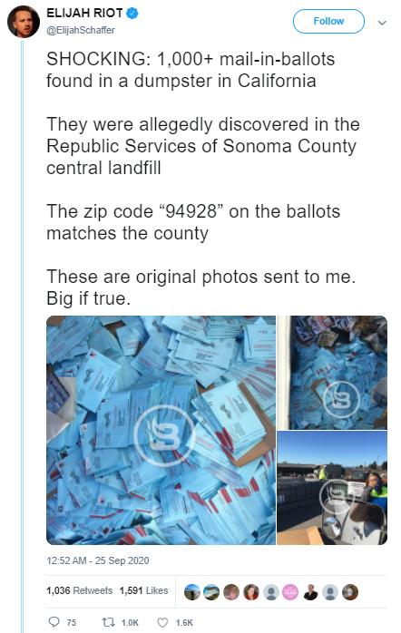 Post o kartach do głosowania odnalezionych na śmietniku w hrabstwie Sonoma w Kalifornii