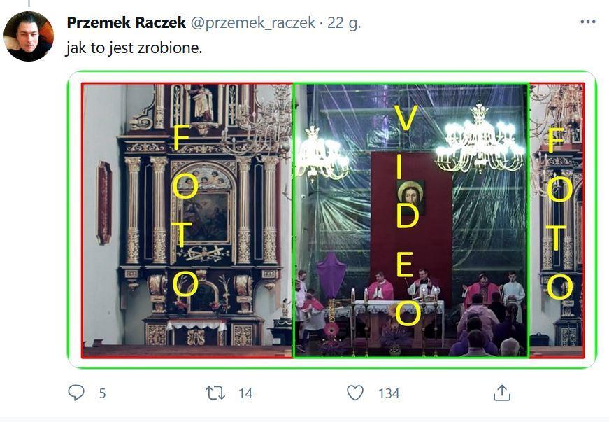 Post internauty wyjaśniający, jak jego zdaniem zmieniono obraz z transmisji mszy w bazylice w Nowym Sączu