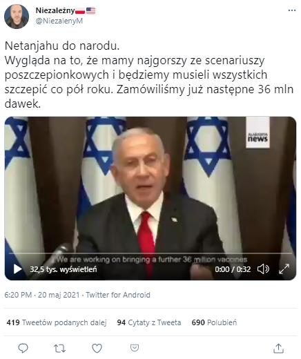 Internauci rozpowszechniali zmanipulowaną wypowiedź premiera Izraela