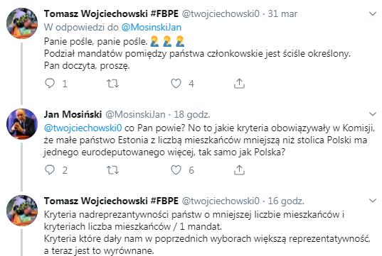 Jan Mosiński - dyskusja na Twitterze