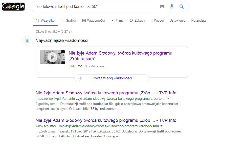 Wyszukiwarka zapamiętała artykuł TVP Info o śmierci prezentera