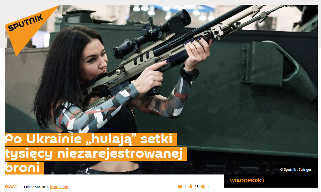 Artykuł o nielegalnej broni na Sputnik Polska