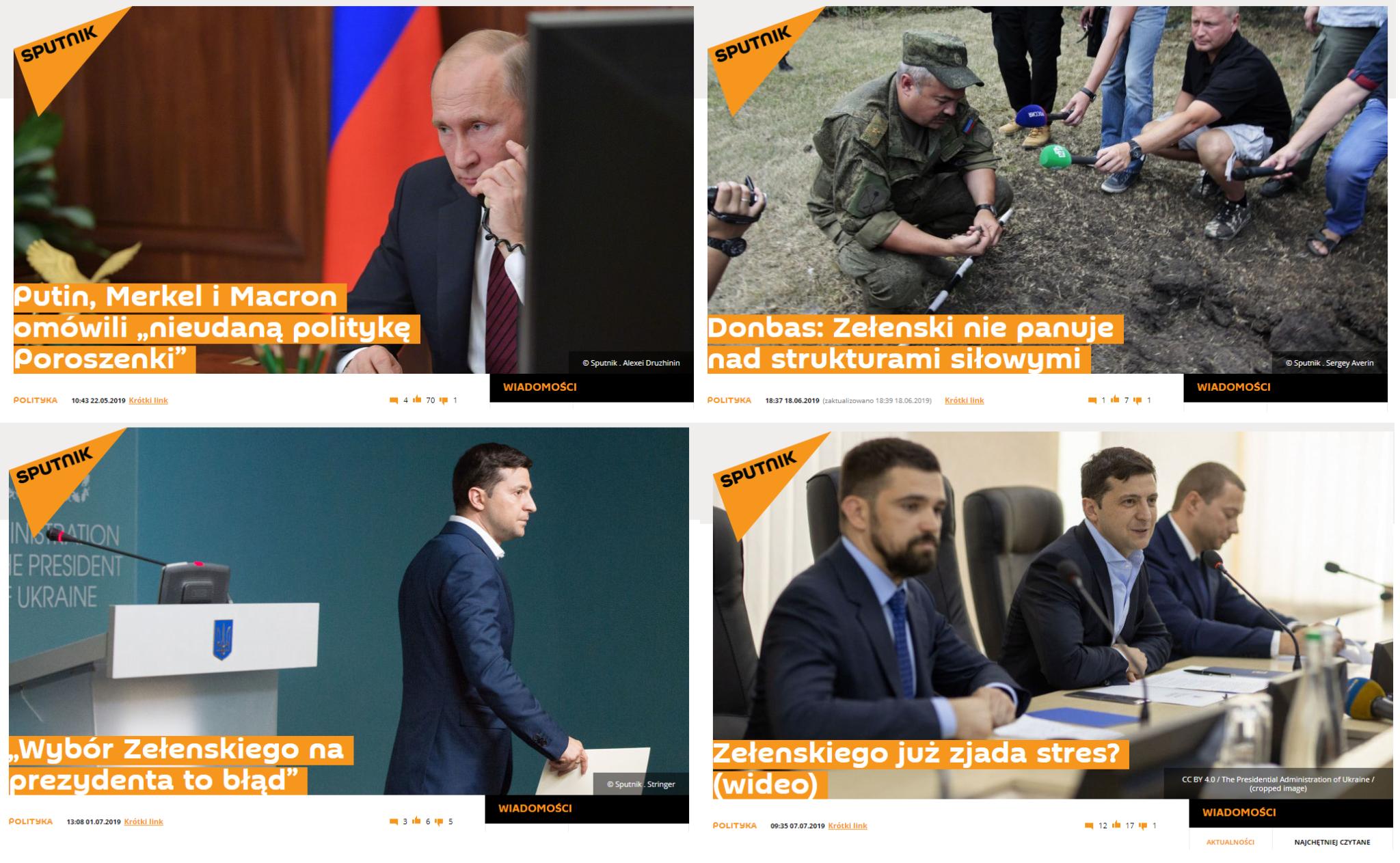 Tytuły niektórych artykułów o prezydentach Ukrainy na Sputnik Polska