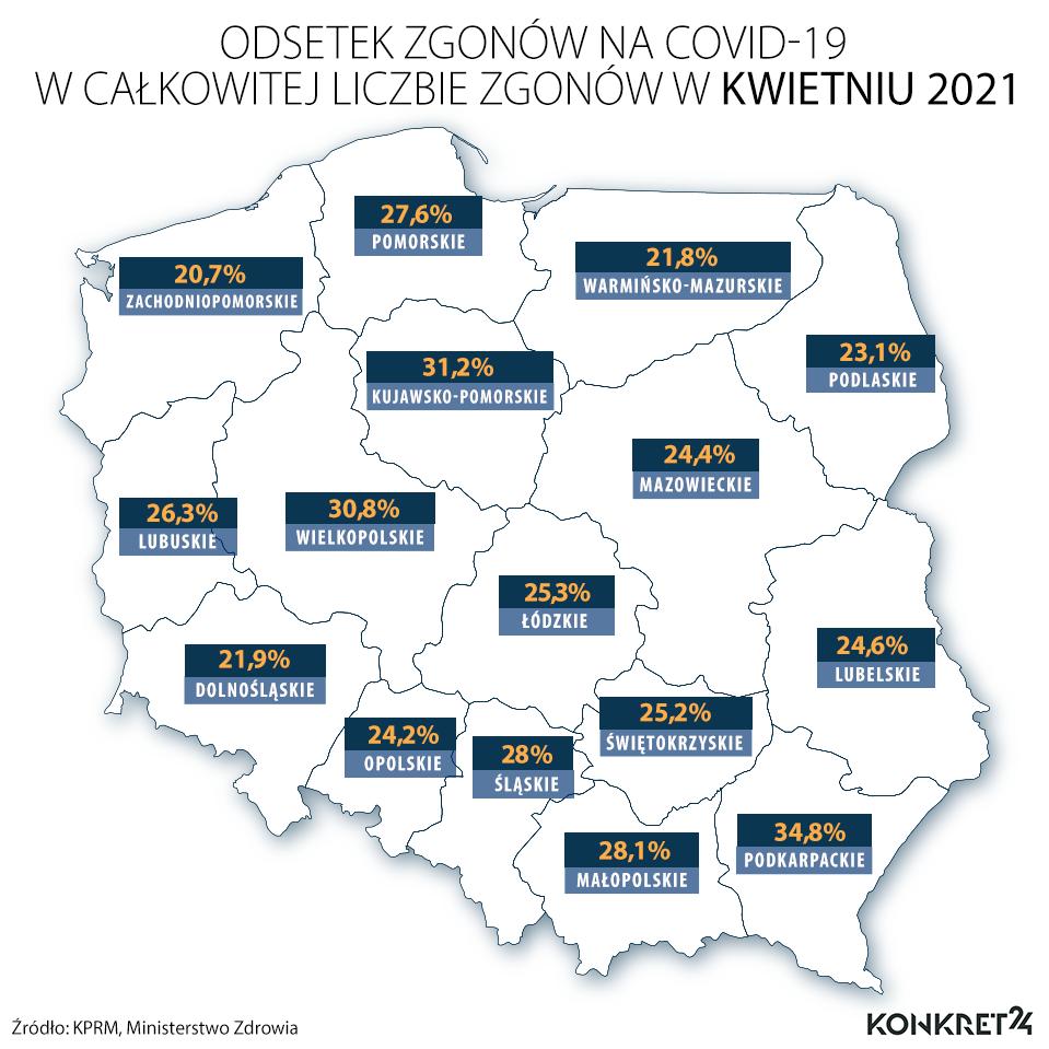 Odsetek zgonów na COVID-19 w całkowitej liczbie zgonów w kwietniu 2021