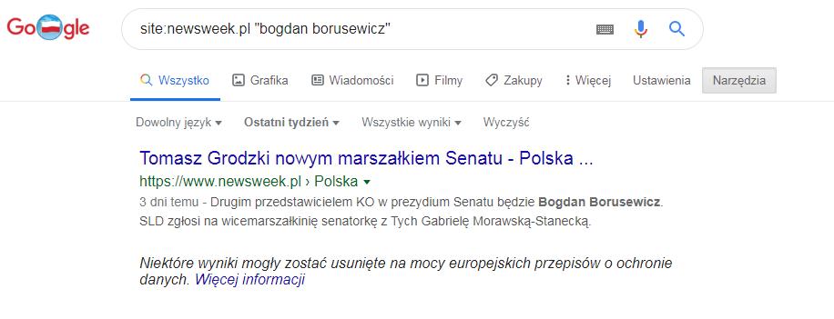 Newsweek o Bogdanie Borusewiczu w ostatnim tygodniu pisał tylko raz, bynajmniej nie o jego rezygnacji z mandatu