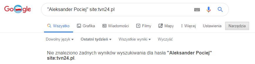 W ostatnim tygodniu portal tvn24.pl nie publikował artykułów na temat Aleksandra Pocieja