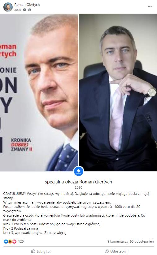 Wpis z fałszywego profilu Romana Giertycha