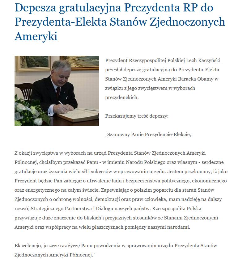 Gratulacje Lecha Kaczyńskiego dla Baracka Obamy