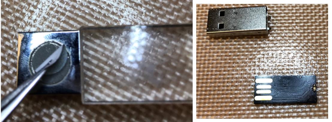 Eksperci nie znaleźli w pamięci USB żadnej nietypowej technologii. Urządzenie posiadało naklejkę, którą można było łatwo usunąć.