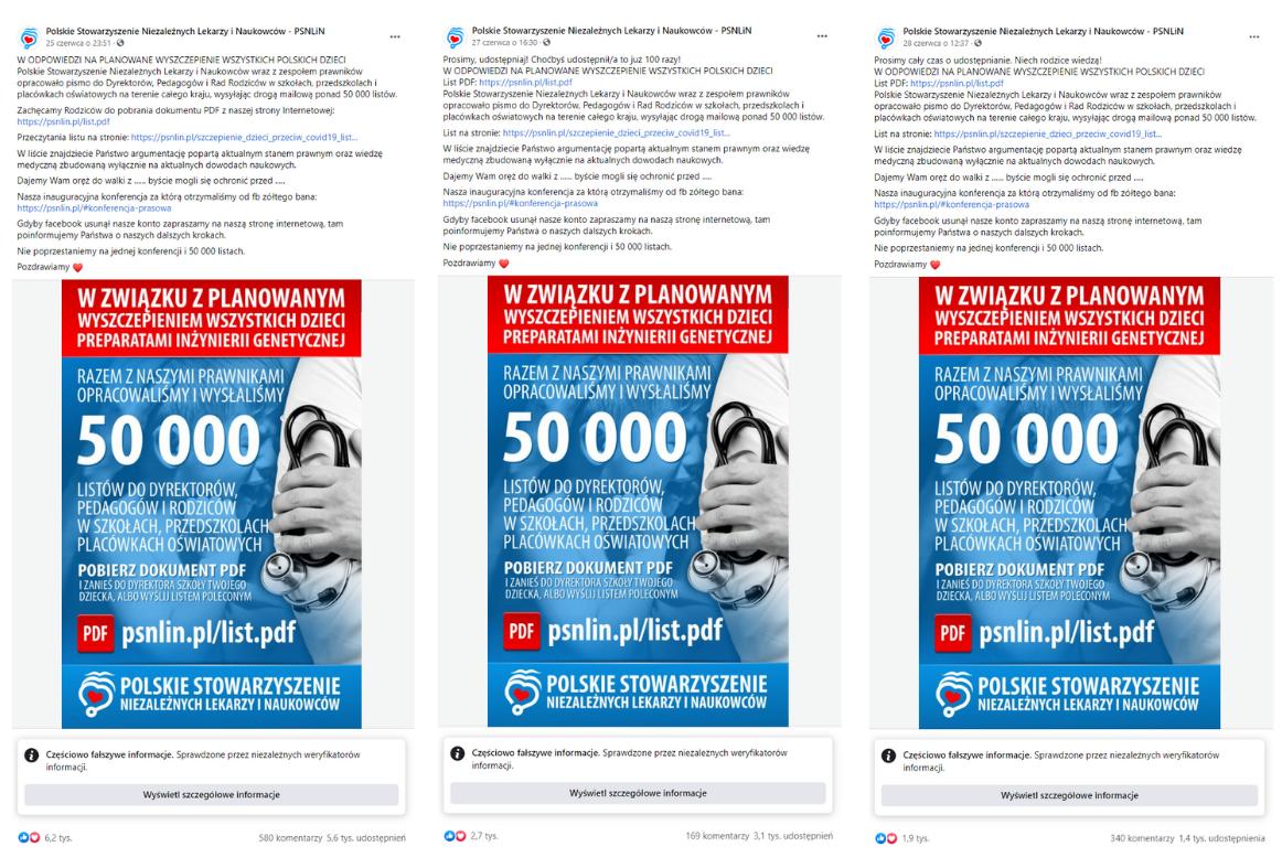 Facebokowe wpisy promujące list Polskiego Stowarzyszenia Niezależnych Lekarzy i Naukowców