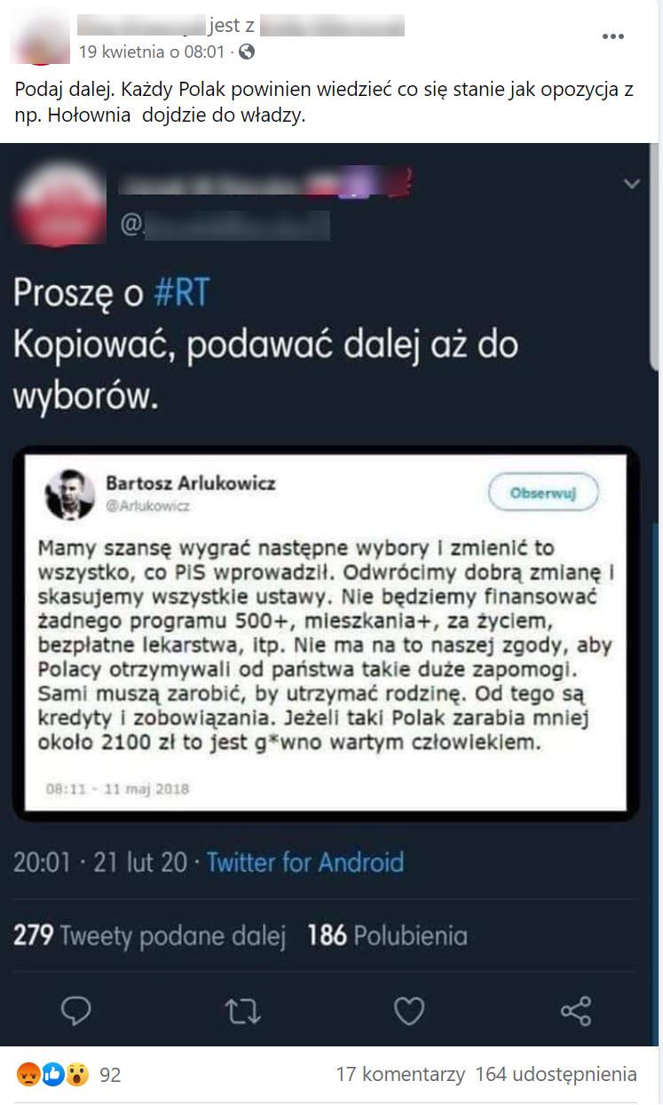 Rozpowszechniany rzekomy tweet  Bartosza Arłukowicza