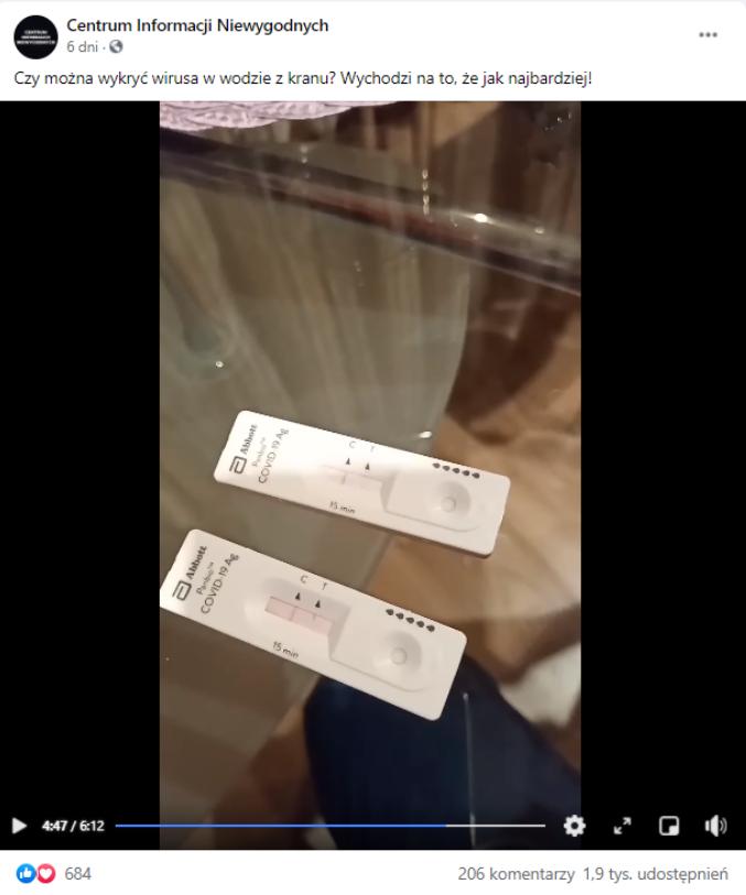 Film zamieszczony w grupie facebookowej przekonywał, że testy na COVID-19 reagują pozytywnie na wodę i wodę utlenioną