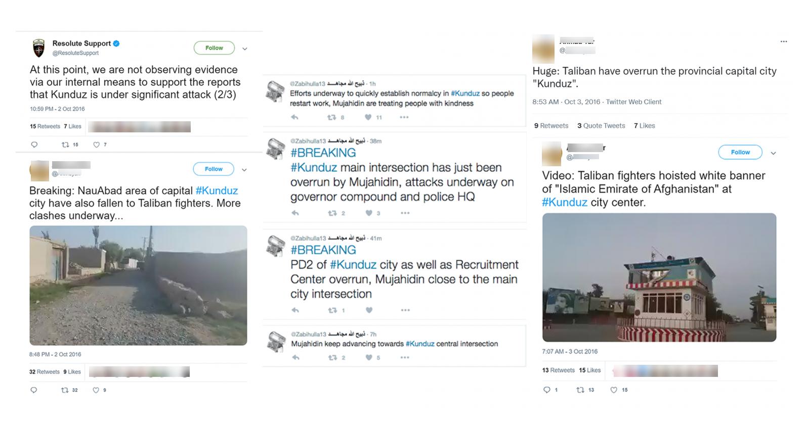 Talibowie i Afgańczycy publikowali w październiku 2016 roku na Twitterze dowody na zajęcie miasta, podczas gdy rząd temu zaprzeczał
