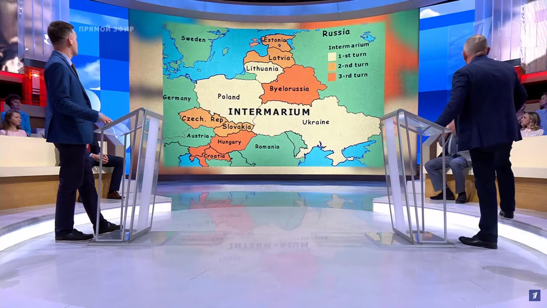 """Mapa obrazująca koncepcję """"Międzymorza"""" w studiu programu """"Czas pokaże"""""""