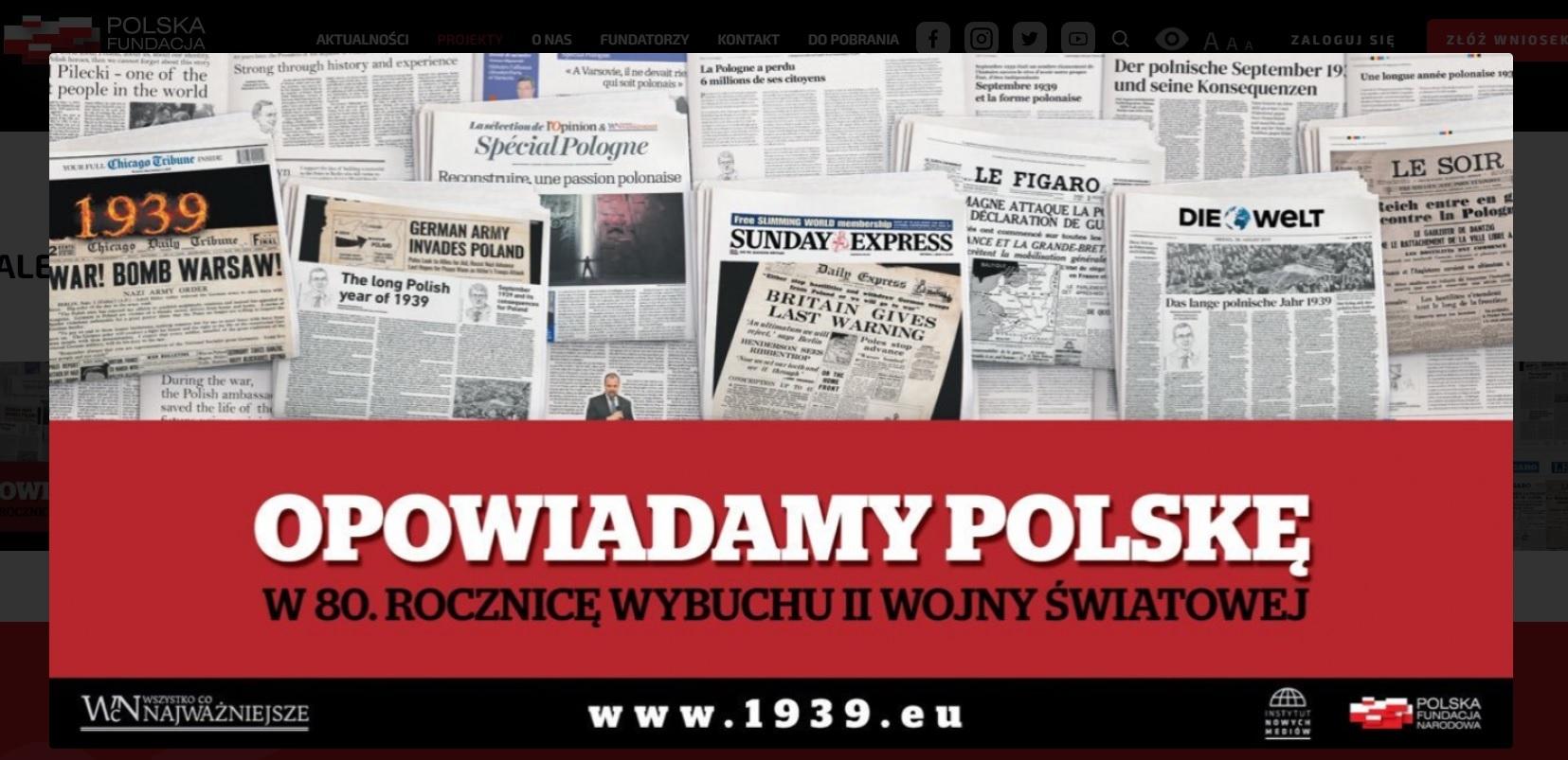 PFN we współpracy z Instytutem Nowych Mediów zamieściła w dniach 30 sierpnia - 1 września w zagranicznej prasie informację o rocznicy wybuchu II wojny światowej (o czym informuje na swojej stronie)