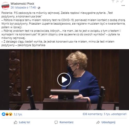 Ewa Szymańska z PiS zapytała z sejmowej mównicy o wiarygodność testów na koronawirusa