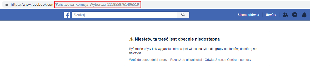 Po interwencji PKW u administratorów Facebooka fałszywy profil usunięto