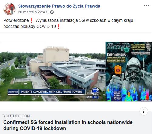 """Wpis o rzekomej """"wymuszonej instalacji 5G w szkołach"""""""
