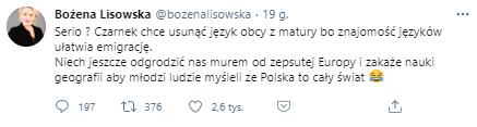 Wpis Bożeny Lisowskiej na Twitterze