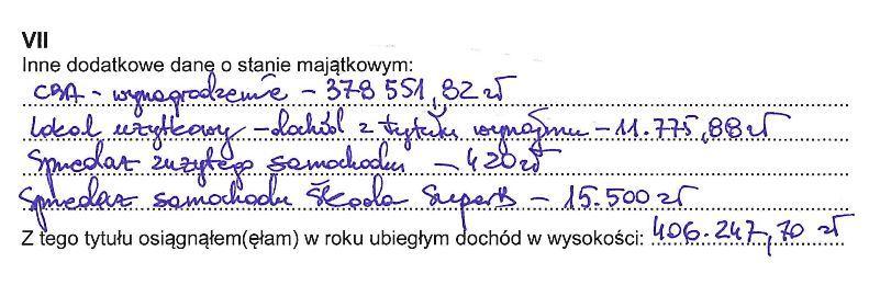 Fragment oświadczenia majątkowego wiceszefa szefa CBA Bogdana Sakowicza