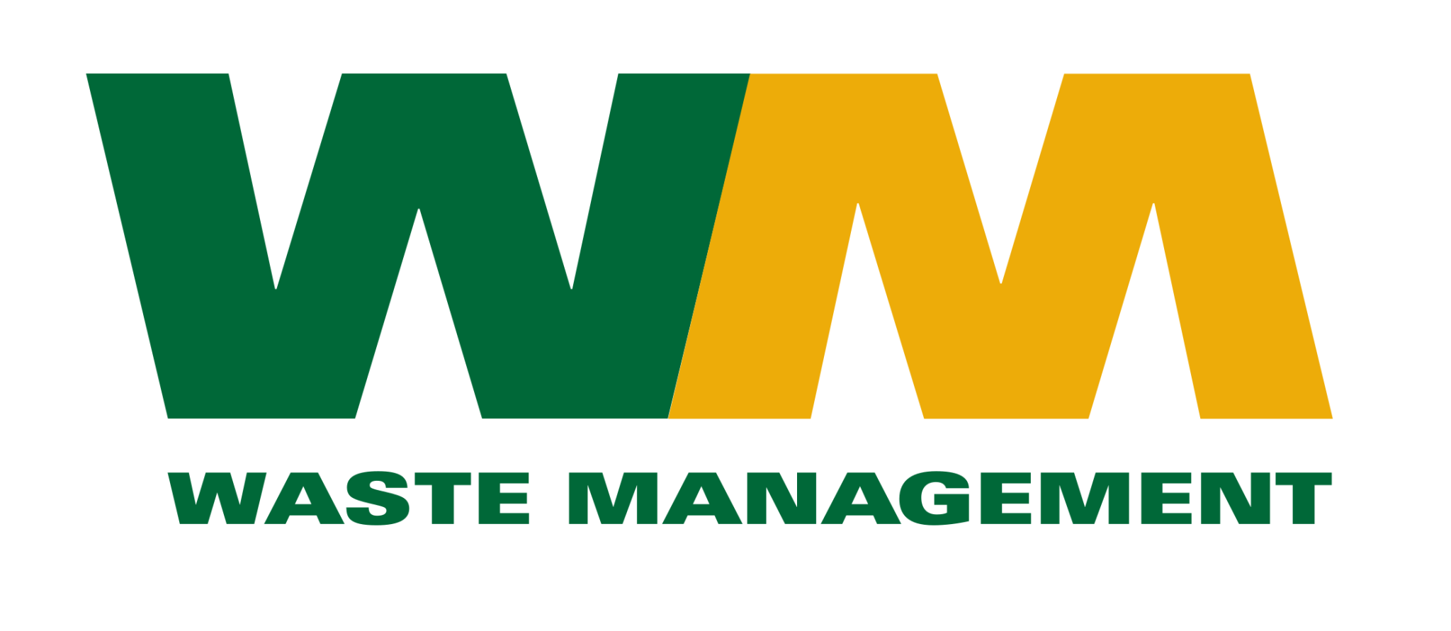 Logo amerykańskiej firmy Waste Management widoczne na koszach