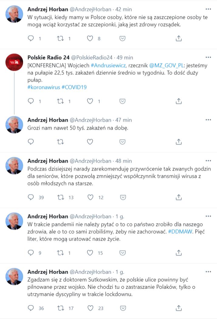 Kilka wpisów z konta rzekomo należącego do prof. Horbana