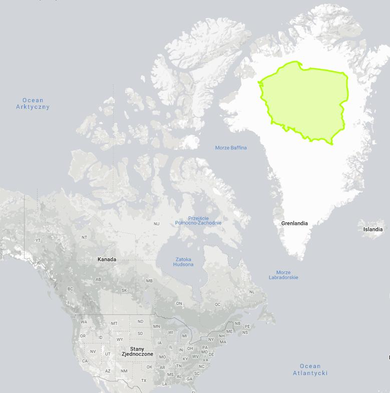 Porównanie powierzchni Polski i Grenlandii