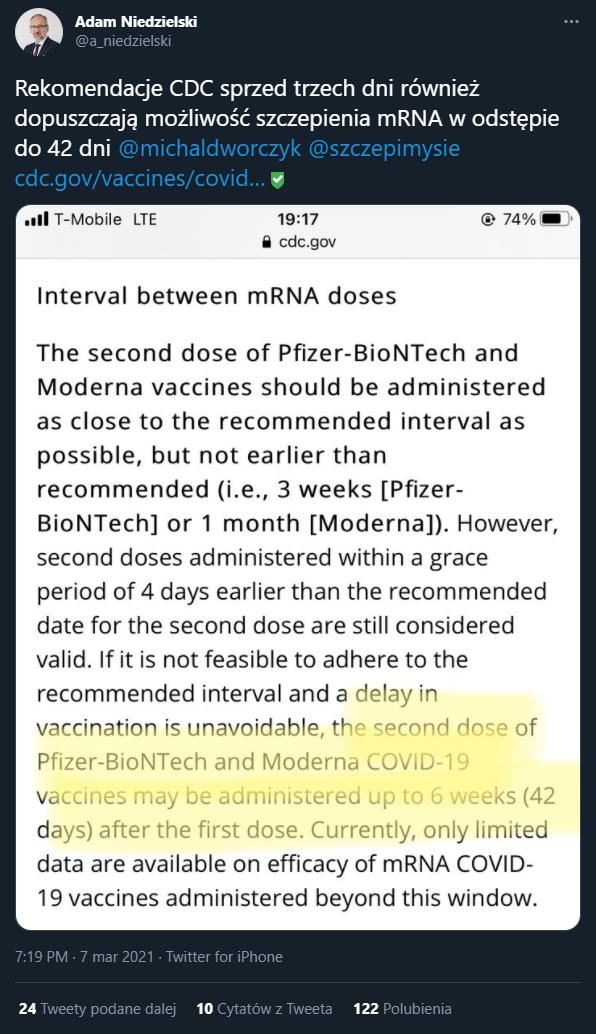 Wpis ministra zdrowia o rekomendacjach CDC dotyczących odstępu czasowego w podawaniu szczepionek mRNA