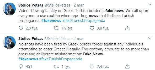 Wpisy Steliosa Petsasa na Twitterze