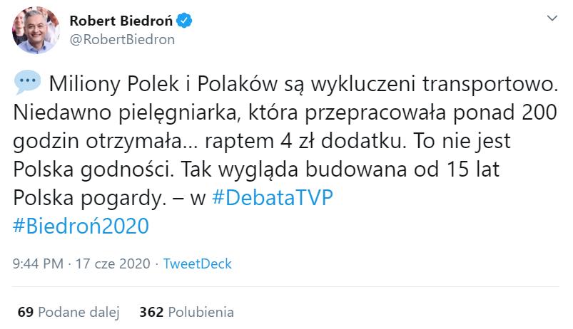 Wpis o dodatku dla pielęgniarki z Krakowa na profilu Roberta Biedronia na Twitterze