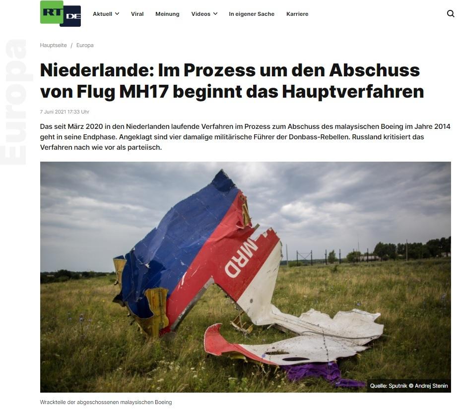 Tekst na niemieckiej witrynie RT przekonywał, że rakieta buk, która zestrzeliła samolot MH17, należała do Ukrainy