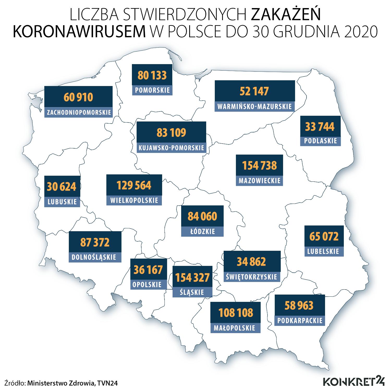Liczba stwierdzonych zakażeń koronawirusem w Polsce do 30 grudnia 2020