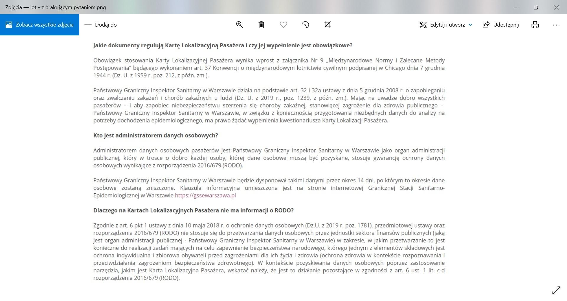 Informacja na stronie Lotniska Chopina o tym, kto jest administratorem danych osobowych (pytani i odpowiedź usunięto po 27 sierpnia)