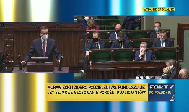 """Premier Morawiecki przed głosowaniem nad ratyfikacją Funduszu Odbudowy mówił o """"ponad 770 mld zł w cenach bieżących"""""""